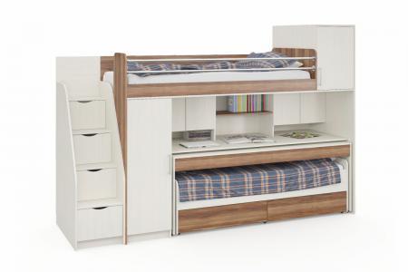 Д-908 (деревянная детская стенка с двухъярусной кроватью)